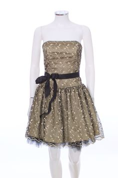 dbe75af1c6a London Couture - Jessica McClintock Gold Lace Overlay Black Tulle Skirt  Strapless Dress Size 4 Gold