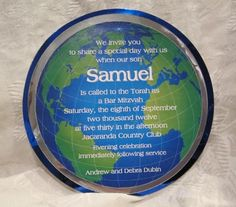 Around the world or travel themed bar mitzvah invitation from www.beescards.com