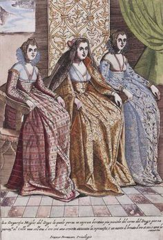 """Dress of Dogaressa and Ladies"" from Habiti d'huomeni et donne Venetiane byGiacomo Franco, 1609"