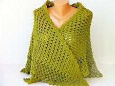 Green crochet shawl cowl shawl Bridel gift shawl by SenasShop