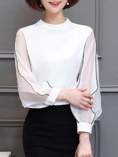AdoreWe - Fashionmia Band Collar Contrast Stitching Hollow Out Blouse - AdoreWe.com