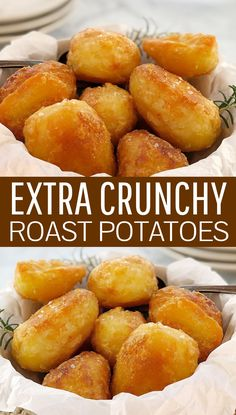 Extra Crispy Potatoes · Chef Not Required.Roast Potatoes - how to make roast potatoes in the oven. They fit all the must-haves in the best roast potatoes - crispy, crunchy and easy! I think these might be the best roast potatoes you have eve Perfect Roast Potatoes, Crispy Roast Potatoes, Baked Potatoes, Best Potatoes For Roasting, Easy Roasted Potatoes, Potato Side Dishes, Veggie Dishes, Food Dishes, Gourmet