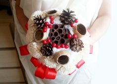 Cream rustic wedding BOUQUET Cream Flowers, pine cones, bell cup,cotton, red balls, winter wedding, sola roses, winter wonderland - pinned by pin4etsy.com
