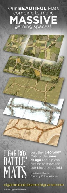 Cigar Box Battle Mats combine to make MASSIVE gaming areas! Wargaming Table, Wargaming Terrain, Dungeon Tiles, Dungeon Maps, Board Game Design, Game Terrain, Paper Games, Tabletop Games, Board Games
