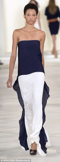 Ralph Lauren SS16 - Classic navy added a dramatic yet elegant touch to white skirts
