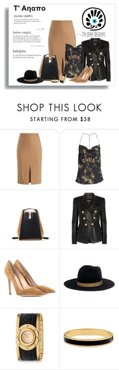 """Grecian Chic Backpack.  #thegreekdesigners #backpack #greekbackpack"" by lorrainekeenan ❤ liked on Polyvore featuring MaxMara, Arrive, Balmain, Gianvito Rossi, Kye, Janessa Leone, Gucci and Halcyon Days"