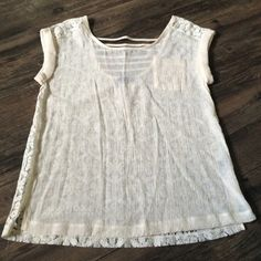 NWOT! Lace and linen dress top Never worn!!! Perfect condition lace and linen dress top for work or a nice dinner. The back has lace and strappy details around the neck (2nd pic) Mine Tops Blouses