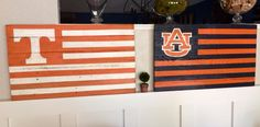 College Football Pallet Flags. Auburn. Tennessee. #fortheloveofpallets www.facebook.com/fortheloveofpallets.tx