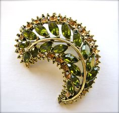 Vintage 1960s Crescent Rhinestone & Antiqued Gold by JoolsForYou