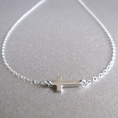 Silver Mini Side Ways Cross Necklace by tangerinejewelryshop, $28.00