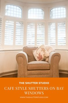 Cafe style aka half height shutters are perfect for bay windows Bay Window Shutters, Wooden Shutters, Bay Windows, Cafe Style Shutters, Shutter Blinds, Interior Shutters, French Cafe, Window Dressings, Valance Curtains