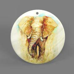 Color Printing Elephant White Shell Pendant Necklace J1705 0015 #ZL #Pendnat
