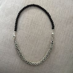 Kumihimo beaded necklace with round silver plated magnetic clasps.
