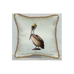 Coastal Pelican Border Indoor / Outdoor Pillow