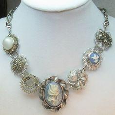 Vintage Silver Upcycled Wegdewood Statement Necklace/Bracelet | TimelessDesigns - Jewelry on ArtFire