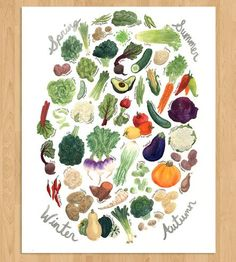 Seasonal Veggies Art Print by Cactus Club on Scoutmob Shoppe