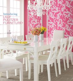 lilly pulitzer furniture available online at neiman marcus and horchow...only $7,611 for the table and 8 chairs