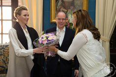 Prince Albert II and Princess Charlene of Monaco Meet with Tennis Legends