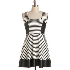 ModCloth Tank top (2 thick straps) A-line Exhibit Your Edge Dress ($22) ❤ liked on Polyvore featuring dresses, apparel, fashion dress, varies, black and white dress, cocktail dresses, black and white evening dresses, a line dresses and black and white plus size dresses