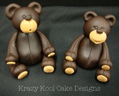Large Teddy Bear Cake Toppers by KrazyKoolCakeDesigns on Etsy Fondant Teddy Bear, Teddy Bear Cakes, Polymer Clay Figures, Fondant Figures, Modeling Chocolate Figures, Large Teddy Bear, Fondant Animals, Fondant Tutorial, Chocolate Art