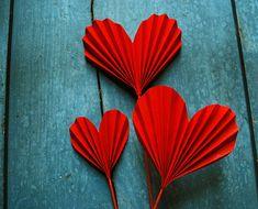 Cœurs de papier origami Valentine, fleurs de coeur rouge, à ajouter à un Bouquet