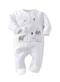 Aww how cute is this baby gro? Lovely white outfit for a newborn. The elephant design is gorgeous.