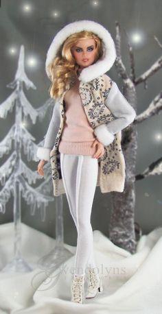 Winter Pastels, Barbie Dress, Barbie Doll, White Jersey, Sweater Set, Clothing Patterns, Fashion Dolls, Doll Clothes, Harajuku