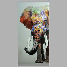 Single Modern Abstract Pure Hand Draw Ready To Hang Decorative The Elephant Oil Painting 2016 - $49.99