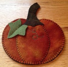 Primitive Wool Penny Rug~Votive Candle Mat~Pumpkin #7 #NaivePrimitive
