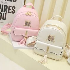 Leisure Lotus Leaf School Backpack PU Girls Tassels Pink Rabbit Ear Backpack Source by bags Cute Mini Backpacks, Stylish Backpacks, Girl Backpacks, School Backpacks, Leather Backpacks, Leather Bags, Fashion Bags, Fashion Backpack, Fashion Handbags