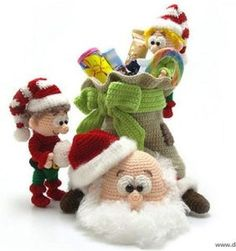 Santa with elves and sack crochet pattern. Crochet Tutorials – Santa Claus crochet pattern amigurumi – a unique product by Dinegurumi on DaWanda