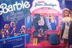 """Barbie Jeans Boutique Playset - 15 Pieces (1990) by Mattel. $169.99. Contents: Boutique Set, Denim Dress, Denim Jacket, Beret, Purse, Boots, Gloves, 2 Scarfs, 2 Sunglasses, 4 Hangers & Instructions.. For ages 3+ years. Fashions fit most Barbie & 11.5"""" dolls; NO DOLLS included.. Barbie Jeans Boutique Playset is a 1990 Mattel production, made in Italy.. The place to go for hot denim looks! 15 Fun Pieces! Dolls NOT included. Needs some Assembly.. For Box Condition see CONDITION NOT..."""