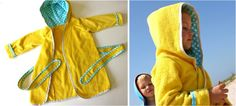 DIY kids' Beach Robe made from IKEA towels Use the two tone hood idea