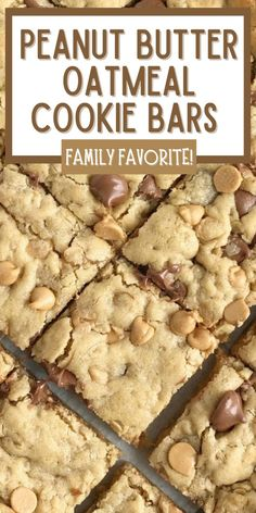 Oatmeal Chocolate Chip Peanut Butter Bars are soft baked & thick cookie bars loaded with peanut butter, oatmeal, chocolate chips, and peanut butter chips.