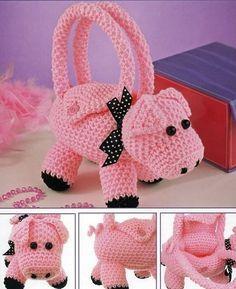 Items similar to Handmade Crochet Amigurumi Piggy Purse Bundle 2 for Buy 2 and Save! Crochet Pig, Crochet Tote, Crochet Handbags, Crochet Purses, Crochet Slippers, Crochet For Kids, Crochet Crafts, Crochet Dolls, Hand Crochet