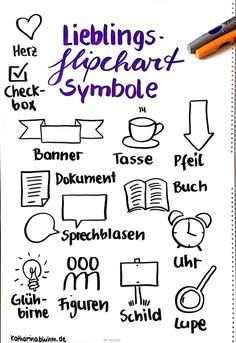 My favorite symbols for flipchart in meetings, presentations or conferences * Katharina Bluhm Viking Symbols, Viking Runes, Mayan Symbols, Egyptian Symbols, Ancient Symbols, Visual Thinking, Design Thinking, Visual Note Taking, Note Doodles