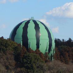 Watermelon designed gasoline storage tank in Japan