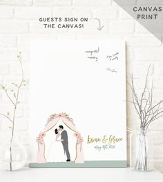 This portrait wedding guestbook is perfect for an outdoor wedding (as an alternative to the traditional guest book) and features a customized portrait of the couple under a flower archway, and your names and date.
