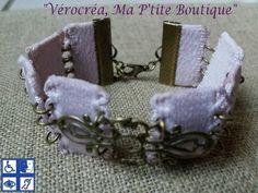 """""""Récup!"""" Bracelet à base de bretelle de lingerie, connecteur filigrané bronze : Bracelet par verocrea"""