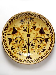 Dish, lead-glazed earthenware, moulded, with trailed slip decoration, mark 'SM' for Samuel Malkin. History Of Ceramics, Types Of Ceramics, Ceramic Plates, Decorative Plates, Earthenware, Stoneware, Stoke On Trent, Victoria And Albert Museum, Old English