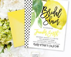 Lemon Bridal Shower Invitation - Fresh Lemon with Black and White Polka Dots Sip and See Printable Fresh Squeezed Lemonade Main Squeeze Glitter Invitations, Bridal Shower Invitations, Party Invitations, Wedding Invitation, Lemon Party, The Jacksons, Lemonade, Baby Shower, Main Squeeze
