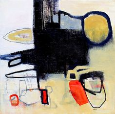 Large Abstract Painting, Original Artwork, Contemporary Art, Yellow, Black, Red, 24x24