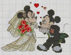 wedding 11 Flowerpower37-uk Cross stitch chart mickey mouse and minnie