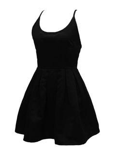 Black Strappy Back Cross Skater Mini Dress