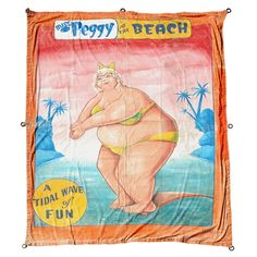 """Vintage Johnny Meah Sideshow Banner """"A Tidal Wave Of Fun"""", American, c. 1960's. Miss Peggy's day at the beach....forever immortalized by Johnny Meah....one of the great master sideshow banner artists."""