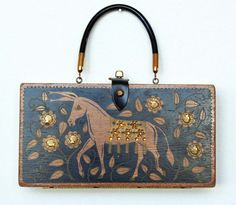 """Enid Collins of Texas """"People's Choice"""" Box Bag; black background, donkey"""