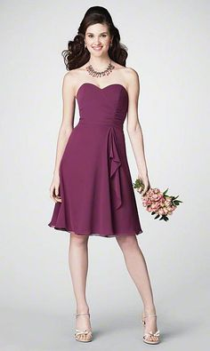 Alfred Angelo Strapless Short Chiffon Bridesmaid Dress 7176 at frenchnovelty.com