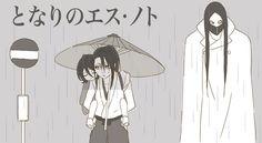androgynous as_nodt bleach commentary japanese kuchiki_byakuya kuchiki_rukia long_hair mask monochrome quincy rain shinigami sign spikes sternritter stop_sign translation_request umbrella wandenreich white_cape