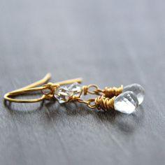 Crystal Quartz Earrings, 24k Gold Earrings, April Birthstone,Swarovski... JewelryByMagda $38.