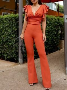 Solid Plunge Flutter Sleeve Scrunch Flared Jumpsuit Women's Best Online Shopping - Offering Huge Discounts on Dresses, Lingerie , Jumpsuits , Swimwear, Tops and More. Long Jumpsuits, Jumpsuits For Women, Playsuits, Teen Fashion, Fashion Outfits, Womens Fashion, Fashion Trends, Latest Fashion, Jumpsuit Elegante
